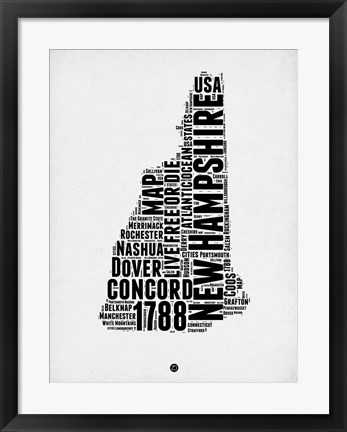 Framed New Hampshire Word Cloud 2 Print