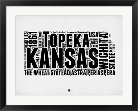 Framed Kansas Word Cloud 2 Print
