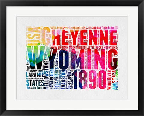 Framed Wyoming Watercolor Word Cloud Print