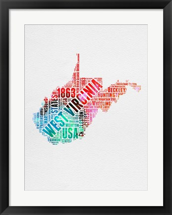 Framed West Virginia Watercolor Word Cloud Print