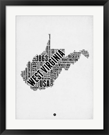 Framed West Virginia Word Cloud 2 Print