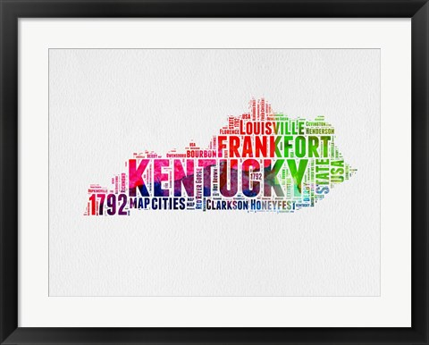 Framed Kentucky Watercolor Word Cloud Print