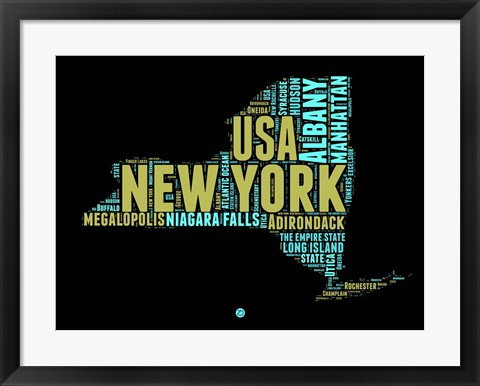 Framed New York Word Cloud 1 Print