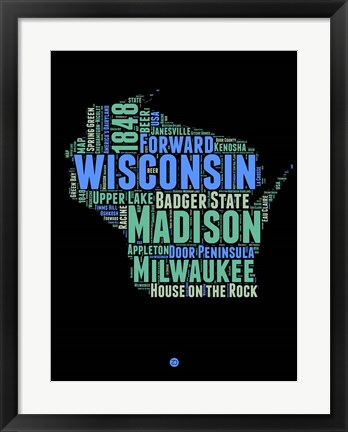 Framed Wisconsin Word Cloud 1 Print