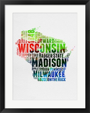 Framed Wisconsin Watercolor Word Cloud Print