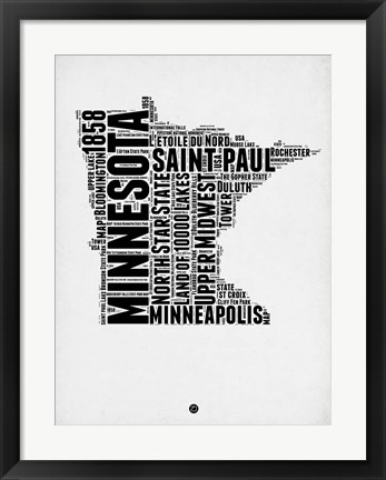Framed Minnesota Word Cloud 2 Print