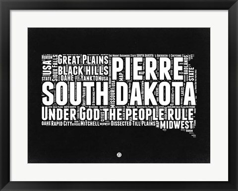Framed South Dakota Black and White Map Print