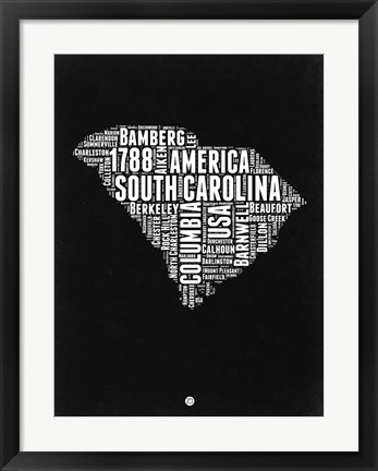 Framed South Carolina Black and White Map Print