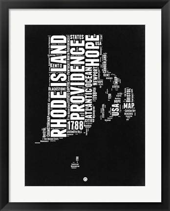 Framed Rhode Island Black and White Map Print