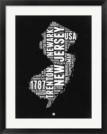 Framed New Jersey Black and White Map Print