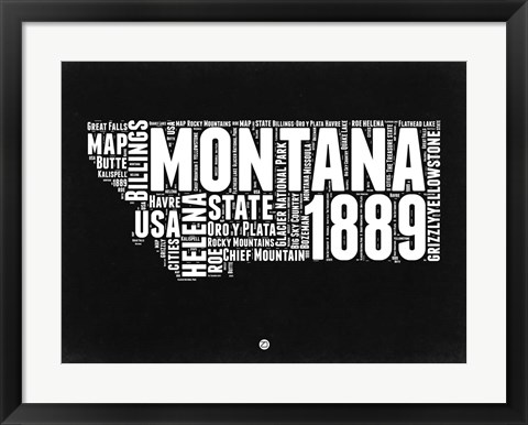 Framed Montana Black and White Map Print