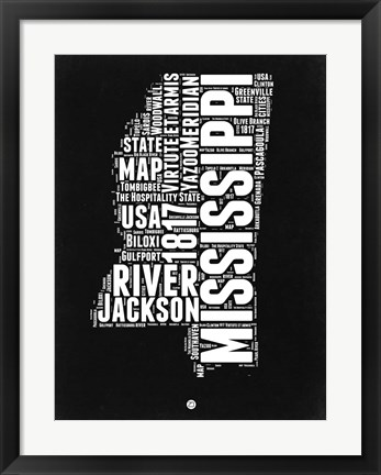 Framed Mississippi Black and White Map Print