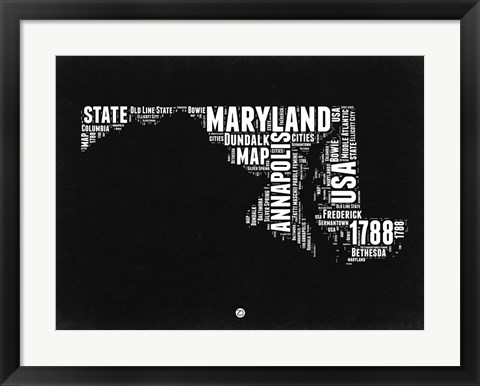 Framed Maryland Black and White Map Print