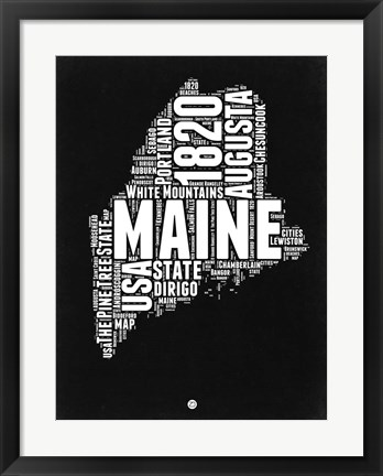 Framed Maine Black and White Map Print