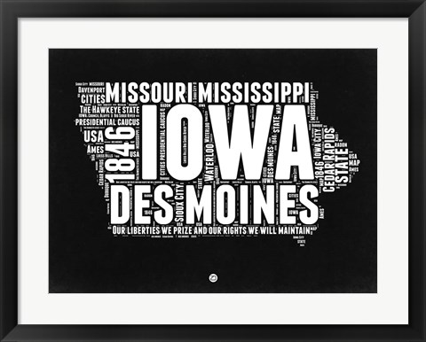 Framed Iowa Black and White Map Print