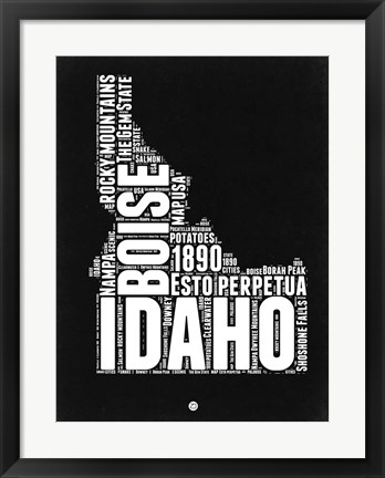 Framed Idaho Black and White Map Print