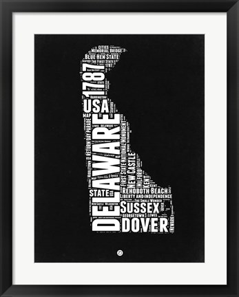 Framed Delaware Black and White Map Print