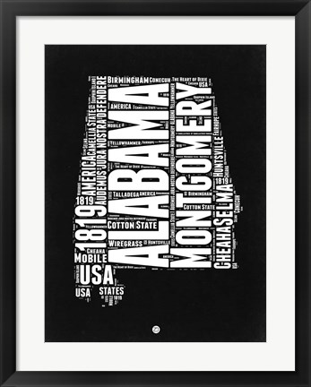 Framed Alabama Black and White Map Print
