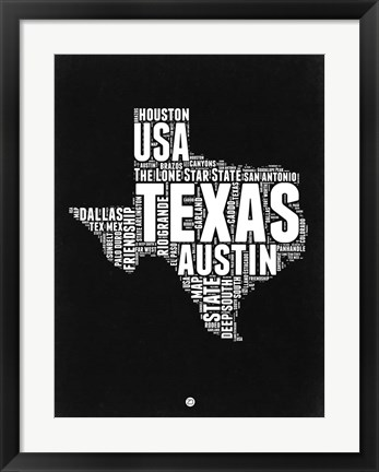 Framed Texas Black and White Map Print