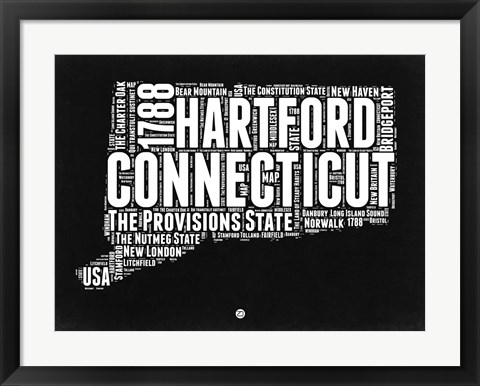 Framed Connecticut Black and White Map Print