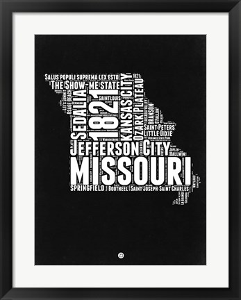 Framed Missouri Black and White Map Print