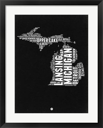 Framed Michigan Black and White Map Print