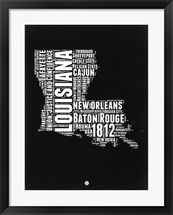 Framed Louisiana Black and White Map Print