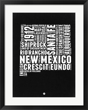 Framed New Mexico Black and White Map Print