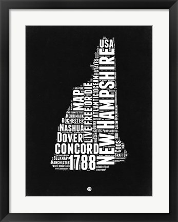 Framed New Hampshire Black and White Map Print