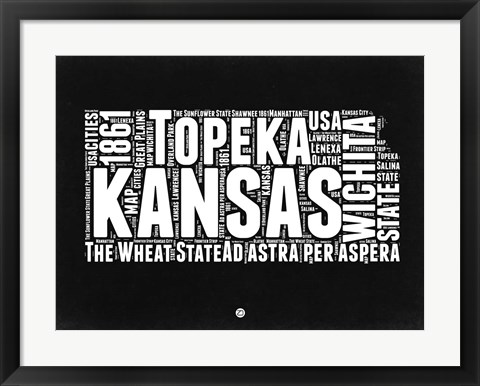 Framed Kansas Black and White Map Print