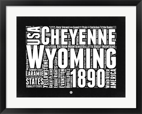 Framed Wyoming Black and White Map Print
