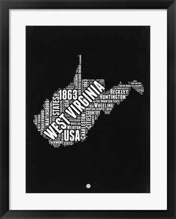 Framed West Virginia Black and White Map Print