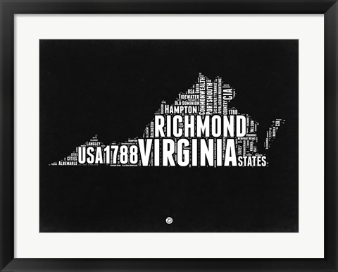 Framed Virginia Black and White Map Print