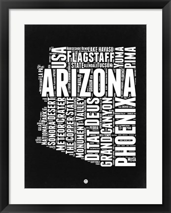 Framed Arizona Black and White Map Print