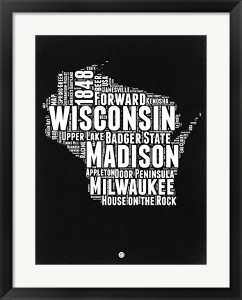Framed Wisconsin Black and White Map Print