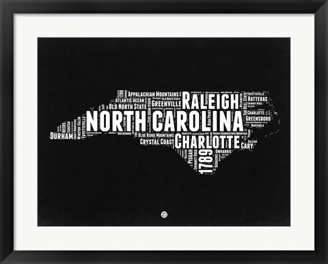 Framed North Carolina Black and White Map Print