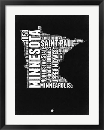 Framed Minnesota Black and White Map Print