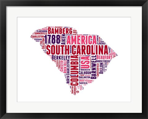 Framed South Carolina Word Cloud Map Print