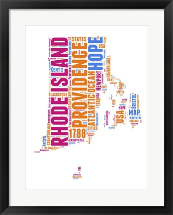 Framed Rhode Island Word Cloud Map Print