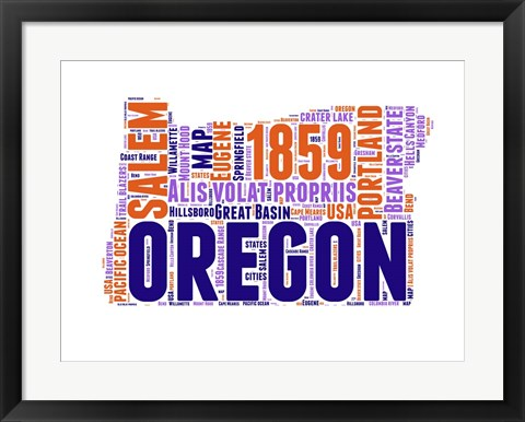 Framed Oregon Word Cloud Map Print