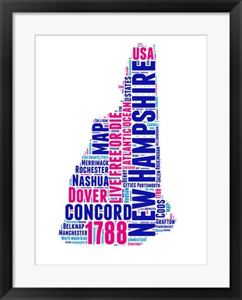 Framed New Hampshire Word Cloud Map Print