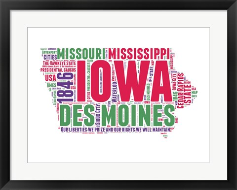 Framed Iowa Word Cloud Map Print