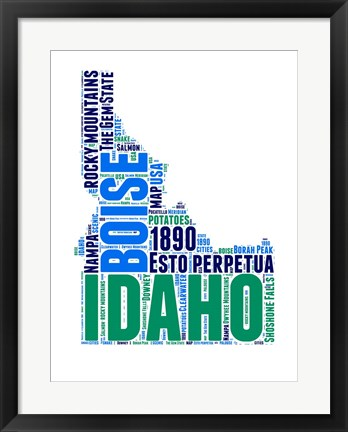 Framed Idaho Word Cloud Map Print