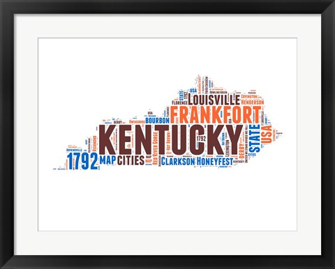 Framed Kentucky Word Cloud Map Print