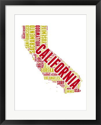 Framed California Word Cloud Map Print