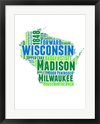 Framed Wisconsin Word Cloud Map Print