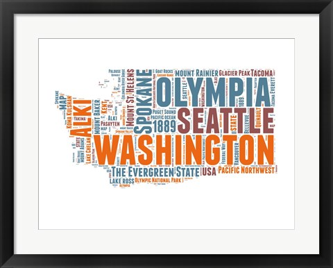 Framed Washington Word Cloud Map Print