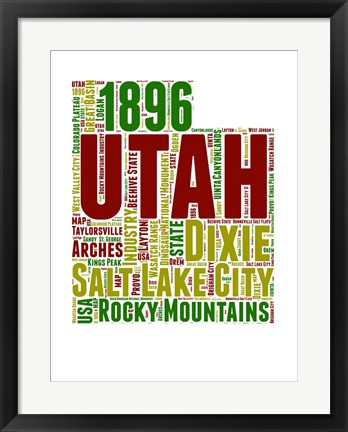 Framed Utah Word Cloud Map Print