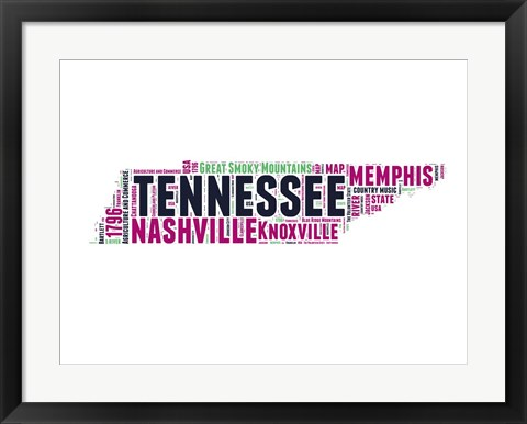 Framed Tennessee Word Cloud Map Print