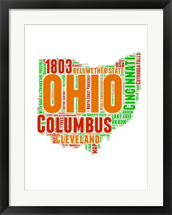 Framed Ohio Word Cloud Map Print